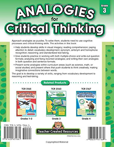 Analogies for Critical Thinking Grade 3 back cover