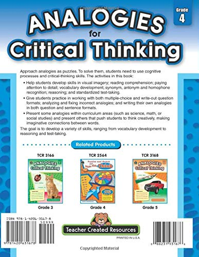 Analogies for Critical Thinking Grade 4 back cover