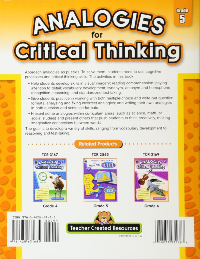 Analogies for Critical Thinking 5 back cover