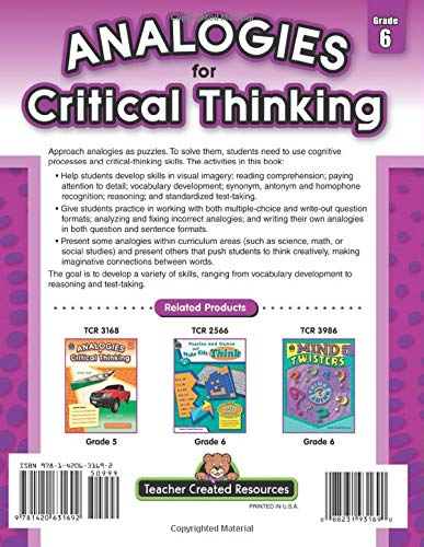Analogies for Critical Thinking grade 6 back cover
